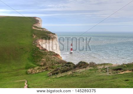Beachy Head, a chalk headland in East Sussex on the southern coast of England.