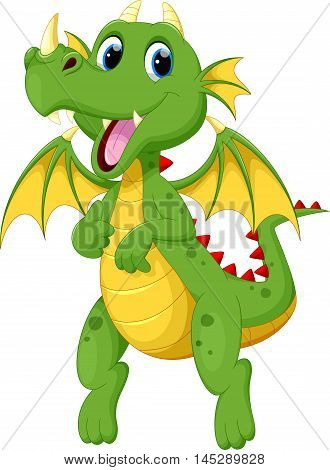 Vector illustration of cute green dragon cartoon isolated on white background