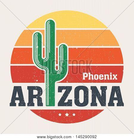 Arizona T-shirt Design, Print, Typography, Label With Styled Saguaro Cactus And Sun. Vector Illustra