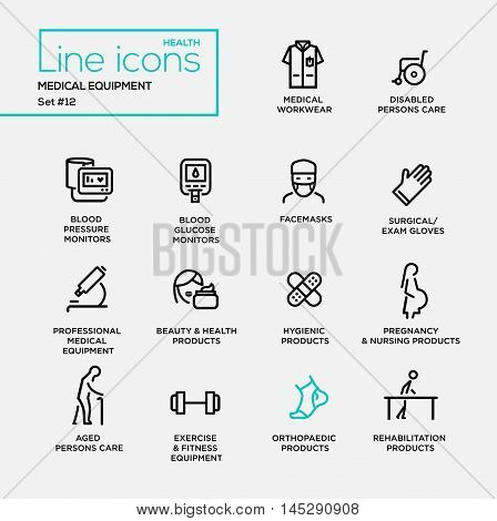 Medical equipment - set of modern vector plain simple thin line design icons and pictograms. Medical workwear, blood pressure monitor, facemask, beauty, hygienic, pregnancy, orthopaedic product