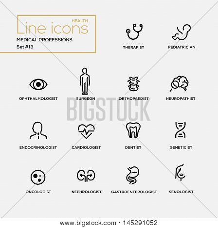 Medical professions - set of modern vector plain simple thin line design icons and pictograms. Therapist, pediatrician, surgeon, neuropathist, endocrinologist, cardiologist, dentist, oncologist