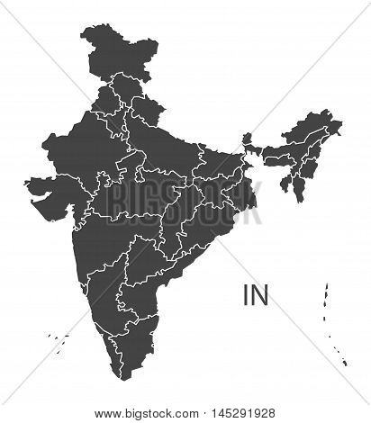 India map with states grey vector isolated high res