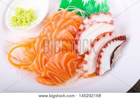Salmon And Octopus Sashimi