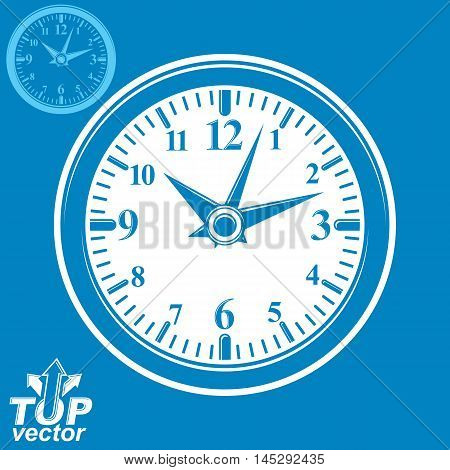 Simple vector wall clock with stylized white clockwise. Business time idea