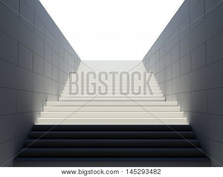 Empty white stairs in pedestrian subway. 3D rendering