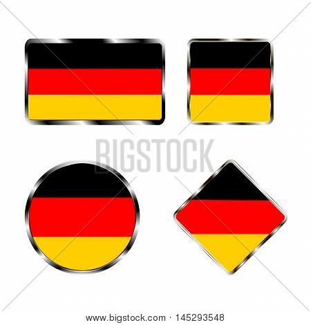 Vector illustration of logo for the country of Germany. Isolated in the drawing consists of flag chrome frame contingent European design on a white background. Badge for government states atlas map