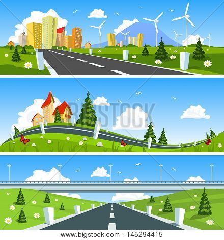 Scenic road through the countryside. Vector illustration