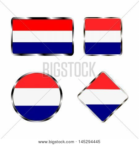 Vector illustration of logo for the country of Netherlands. Isolated in the drawing consists of flag chrome frame contingent European design on a white background. Badge for government states atlas map