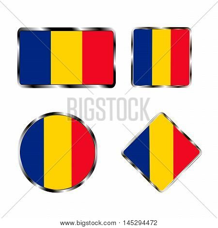 Vector illustration of logo for the country of Romania. Isolated in the drawing consists of flag chrome frame contingent European design on a white background. Badge for government states atlas map