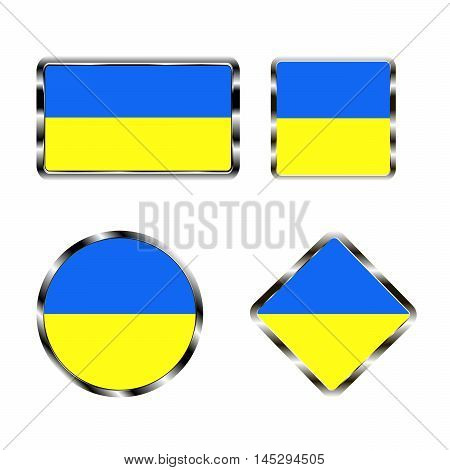 Vector illustration of logo for the country of Ukraine. Isolated in the drawing consists of flag chrome frame contingent European design on a white background. Badge for government states atlas map