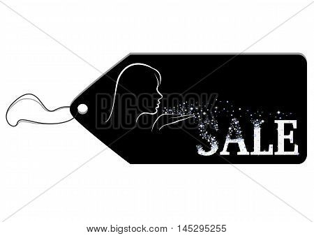Black label depicting a girl blows away blue and white tinsel from her palm and they add up to a word Sale