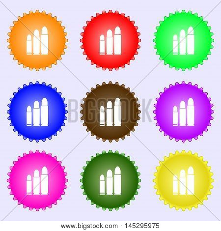 Bullet Icon Sign. Big Set Of Colorful, Diverse, High-quality Buttons. Vector