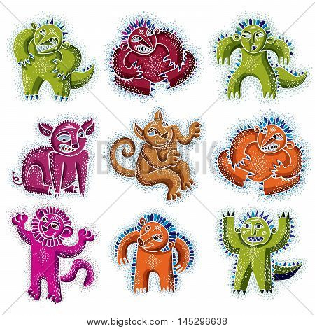 Set of vector cool cartoon monsters colorful weird creatures. Clipart mythic characters