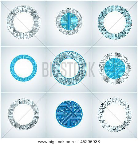 Set Of Vector Abstract Technology Elements With Round Colorful Circuit Boards. High Tech Circular Di
