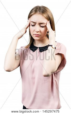 Young woman with headache isolted on white background