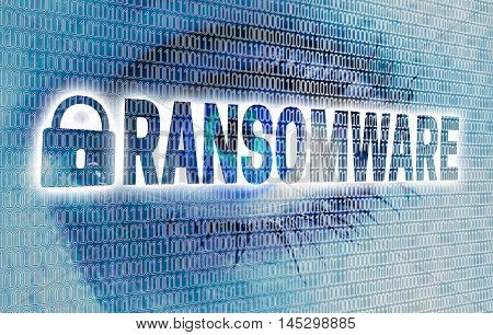Ransomware Eye With Matrix Looks At Viewer Concept