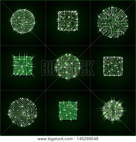 Set Of Vector Technology Cpu Designs With Square And Circular Luminescent Microprocessor Schemes. Co