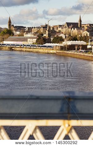Derry panorama from Craigavon Bridge. Derry Northern Ireland United Kingdom.