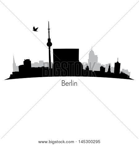 Black detailed vector silhouette skyline of Berlin