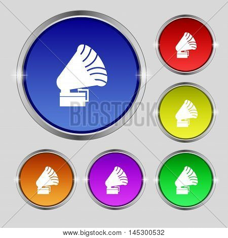 Gramophone Icon. Sign. Round Symbol On Bright Colourful Buttons. Vector