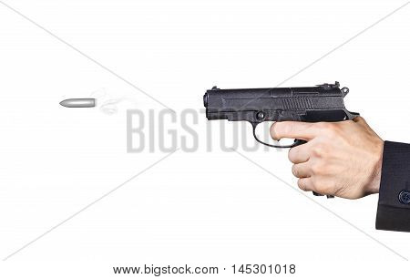 Mans hand shot from a gun. Bullet flying in slow motion
