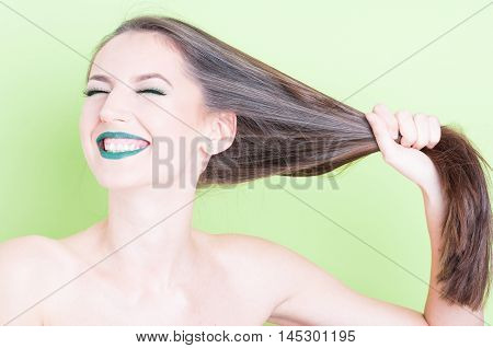 Girl Posing Playful Pulling Her Hair