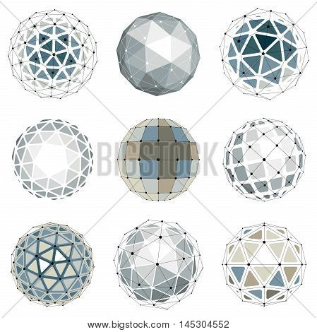 Set Of Vector Low Poly Spherical Objects With Connected Lines And Dots, 3D Geometric Wireframe Shape
