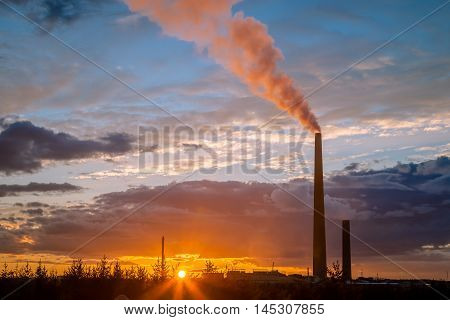 A nickel plant In Ontario, Canada during sunset