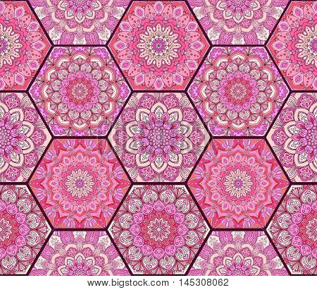 Pink Pattern. Hex boho seamless flower ornament from floral design elements. Honey comb tiles background. Intricate hexagon wallpaper, gift paper, fabric print, textile, furniture. Unusual vector.