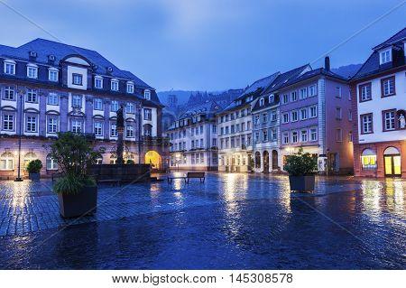 Rainy morning in Heidelberg. Heidelberg Baden-Wurttemberg Germany.