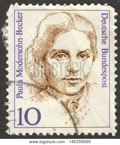 MOSCOW RUSSIA - CIRCA AUGUST 2016: a stamp printed in GERMANY shows a portrait of Paula Modersohn-Becker the series