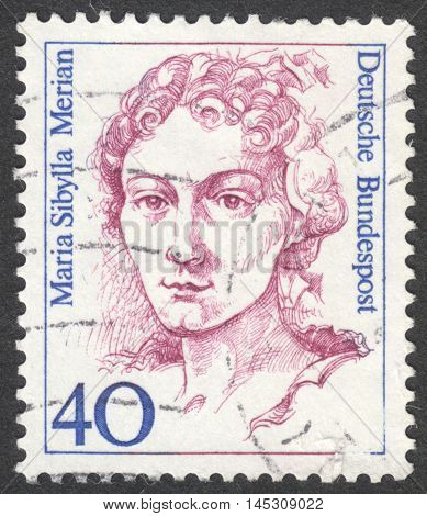 MOSCOW RUSSIA - CIRCA AUGUST 2016: a stamp printed in GERMANY shows a portrait of Maria Sibylla Merian the series