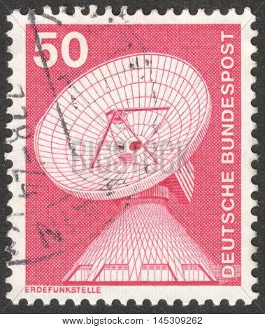 MOSCOW RUSSIA - CIRCA AUGUST 2016: a stamp printed in GERMANY shows a Raisting earth station the series