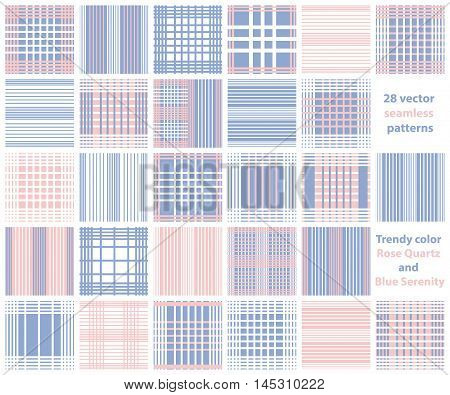 Set of line Vector seamless patterns.Pink, white and blue background. Trendy color Rose Quartz and blue serenity. Checkered, plaid, stripped patterns for boys and girls.
