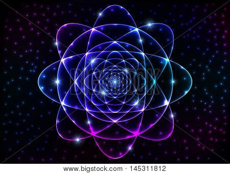 Sacred geometry symbol. Mandala mystery element. Background for space universe big bang alchemy religion philosophy astrology science physics chemistry and spirituality themes.