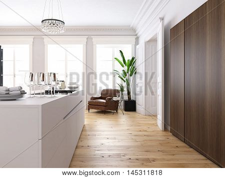 3d rendering. Modern loft with a kitchen and living room.