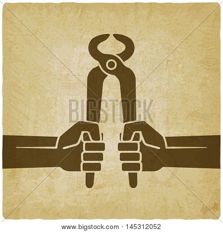 worker hands with pincers old background. vector illustration - eps 10