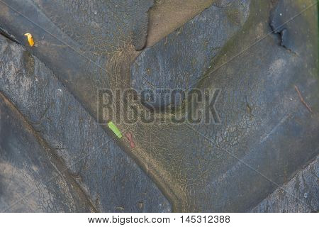 Tire marks, old and dirty black tyres tread pattern, for car, close-up
