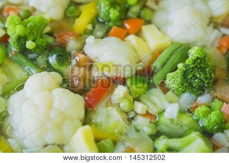 Healthy vegetable stew with selective focus, kitchen