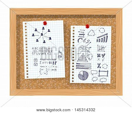 Set of Info-graphic elements, marks, circle, scribbles, highlight frames elements, arrow, underlined, curves, arrows symbols. Isolated on a white sheet on a cork board