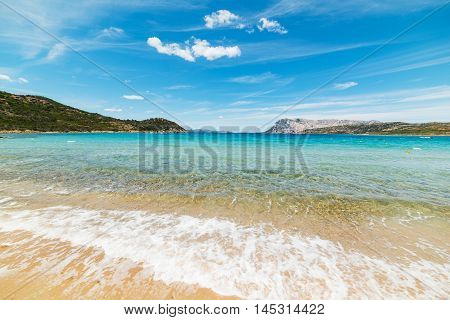 Capo Coda Cavallo shoreline on a clear day Sardinia