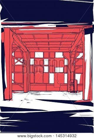 Colorful graphic vector illustration with empty garage installation warehouse workshop View inside art room for your business