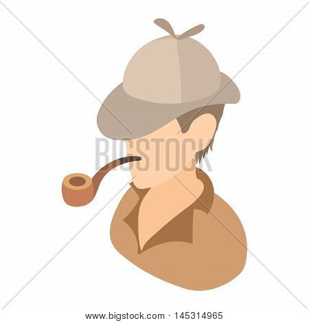 Englishman with a pipe icon in cartoon style isolated on white background. People symbol