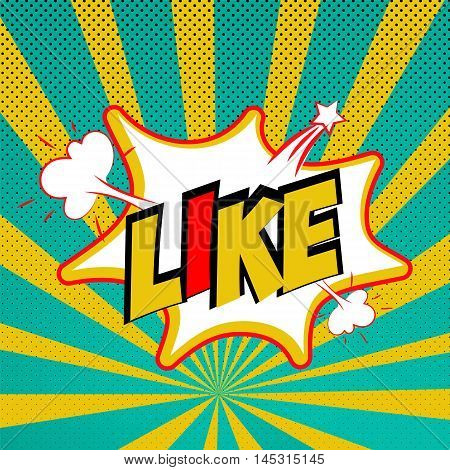 Comic sound effects pop art vector style. Sound bubble speech with word and comic cartoon expression sounds illustration. Lettering Like. Comics book background template.