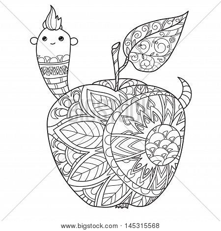 Honey apple doodle and worm.Hand drawn vector illustration. Sketch for tattoo adult coloring anti stress book. Zen art collection boho style.