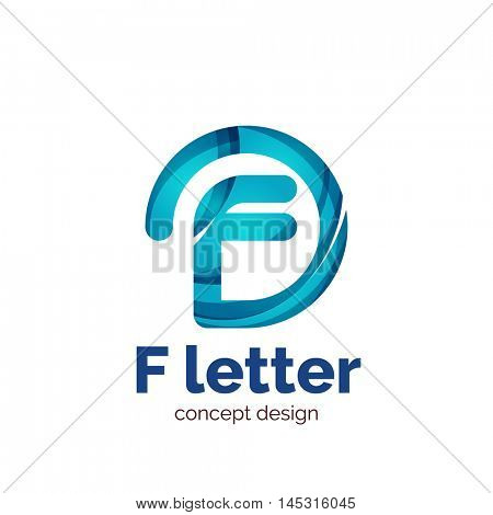Vector letter concept logo template, abstract business icon. Created with transparent overlapping wave elements, elegant design poster