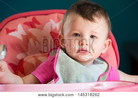Messy Eating with a Little Baby Girl poster