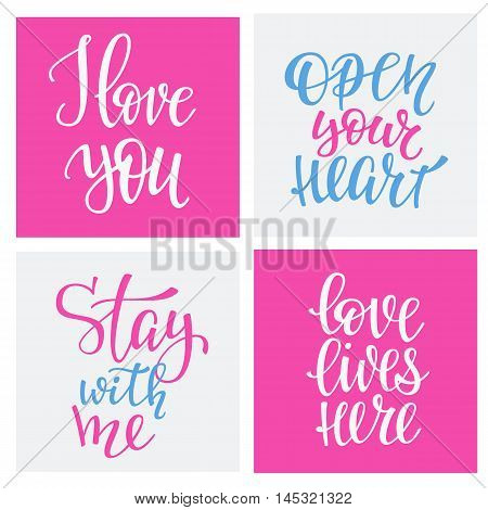 Romantic love lettering. Calligraphy postcard or poster graphic design typography lettering element. Hand written vector calligraphy style valentines day romantic postcard. I love you. Love lives tere