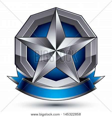 Vector aristocratic badge with silver star and blue and gray ribbon
