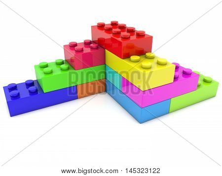 Corner of toy bricks in various colors . 3D illustration